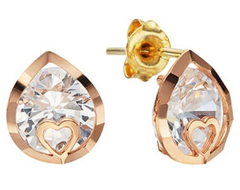 14k Solid Yellow Gold Stud Earrings 7805 Charming Heart&WaterDrop Design Lovely