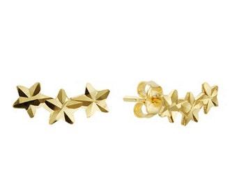 14k Solid Yellow Gold Stud Earrings Star 7969 Charming Star Design Lovely