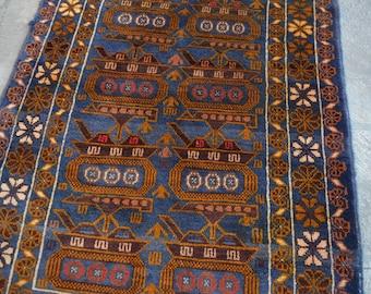 Afghan Tribal Baluch Tang top Faded rug