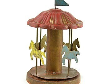 Miniature Fairy Garden Carousel, Metal Carnival Ride Accessory in Red, Blue, and Yellos