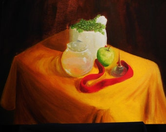 Oil Painting - 18x24 inch - Oil on Stretched Canvas - Still Life with Oil Can and Apple