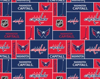 NHL WASHINGTON CAPITALS Hockey 100% Fleece fabric material by the 1/2 yard liscensed for Crafts, Quilts, clothing and Home Decor