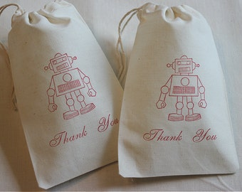 10 Robot Thank You muslin cotton party favor bags 4x6 inch - kid's birthday party - favor bags, goodie bags, cotton pouch, gift bags