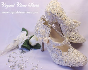 Mary Jane Style  Lace, Pearl & Crystal Gem Bridal Shoes