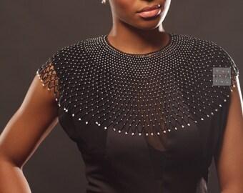 Princess Chiedza  bib necklace- Black and White