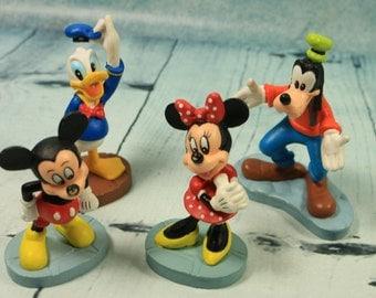 Vintage Disney collectable Figures Mickey Minnie Donald Duck Pluto cake toppers toys nostalgia animation