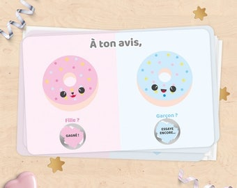 Mini scratch card announcement pregnancy, baby gender, girl or boy - donuts collection