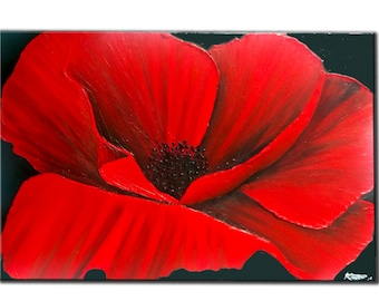 Large, ORIGINAL, RED, poppy, PAINTING on Canvas, Textured, Art Deco Wall Art, Modern, Contemporary