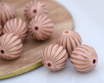 7 Lightweight Acrylic Beads for Jewelry Making. 16mm Pink Gold Acrylic Melon Beads. Large Pale Pink and Gold Striped Melon Plastic Beads.