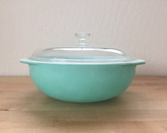 Vintage 1950s Pyrex Turquoise Aqua Casserole Dish with Glass Lid 2 Quart Bowl Baking Bake Chilled Food
