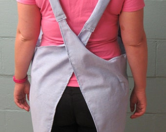 Artist Smock, Apron with cross over straps, Repurposed Button-Up Shirt