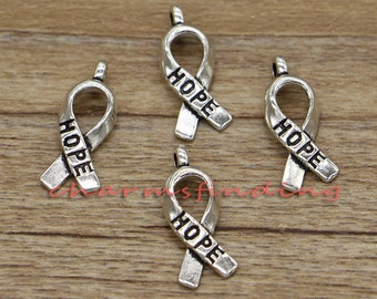 50pcs Awareness Ribbon Charms Hope Charm Antique Silver Tone 19x8mm cf0954