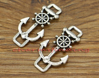 15pcs Anchor Helm Charms Ships Wheel Charms Antique Silver Tone 17x31mm cf1210