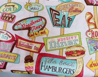 50s - Diner - waitress - hot - dog - hamburger - coffee - donuts - route - 66 - style - fabric - cotton - quilting  - print