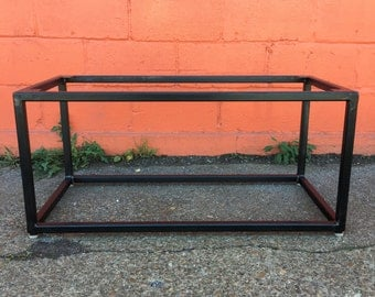Lovely Industrial Metal Coffee Table Base   Blackened, Brushed Steel + Powder  Coated Finishes   Custom