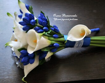 Wedding bouquet with Calla lilies and gentianae