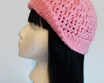 Pink Crochet Hat   Adult Textured Hat   Seamless/Reversible Hat