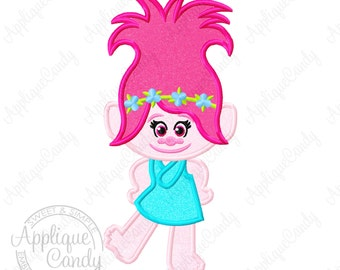 Trolls Poppy Applique 2 Machine Embroidery Design Digital File 4x4 5x5 6x6 5x7 8x8 9x9 6x10 Princess logo branch troll INSTANT DOWNLOAD