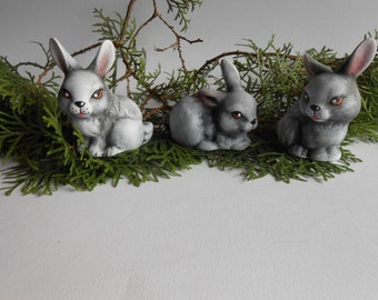 Set of three bunnies,Baby bunnies figurines,Ceramic figurine,Fairy garden figurines, Fairy  accessories,Christmas decoration