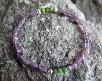 Facetted Amethyste Bracelet and Chrysoprase Beads and 925 Silver