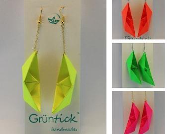AHOY! Paper boat earrings neon - glow in black light - self folded from real paper, reinforced