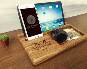 iphone docking station wood charging station christmas gifts for men ipad docking stations - Iphone Charging Station