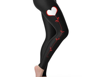 Red Stem Love Heart Women's Leggings