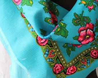 Vintage Scarf Blue Ukrainian Shawl Fabric Scarf Babushka Scarf USSR Gift Her Folk Scarf Folk Print Russia Ladies Scarf Chale Russe Lurex