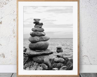 Black and White Photography, Zen Print, Zen Rocks, Meditation, Nature Print, Yoga Art, Print, Wall Art, Gifts For Her, Balancing Rocks, 155