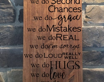 Family Quote//Rustic Family Quote Wood Sign//Rustic Sign//Personalized Family Quote//In This House Quote