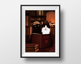 Poster of Sherlock Holmes and Watson - digital artwork reproduced on A4 photo paper