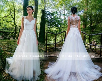 lace organza v neck a line wedding gown chapel train