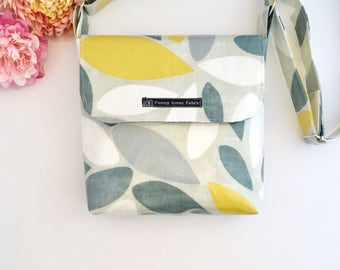 Oilcloth bag, crossbody bag, fabric bags, waterproof bag, yellow bag, yellow handbag, cotton bags, work bag, womens purses, fabric handbags