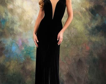 Prom Dress/Formal Dress/Black A-Line V Neck Formal Dress