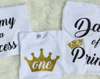 Princess birthday onesie, first birthday onesie, princess birthday shirt, crown onesie, crown shirt, birthday princess, family shirts