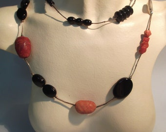 925 sterling silver long necklace with natural coral and natural onyx
