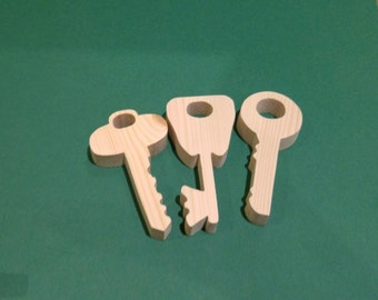 Wooden keys. Set of three wooden key decorations