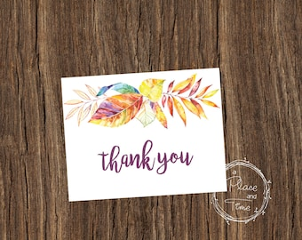 Printable Fall Water Color Thank You Card