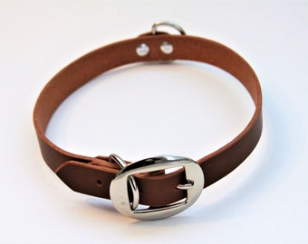 X-Large Genuine Leather Dog Collar (DarkBrown) 24''