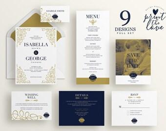 Printable Wedding Invitation Set, Printable Wedding Invitation Suite, Printable, Wedding invitation suite template, Isabella Suite (WS007)