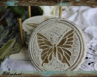 NOW 20% OFF! Home Decor/ Coasters/ Home and Kitchen/ Rustic/ Shabby Chic/ Ivory and Gold