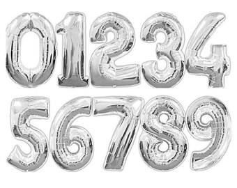 """16"""" Silver Mylar Balloons, Foil Balloons, Mylar Balloons, Jumbo Number Balloons"""