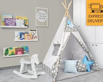 Tipi Set - Kids Play Tent Teepee - Cozy Grey Stars Blue