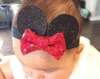 Baby Minnie Ears, Minnie Mouse Headband, Disney Headband