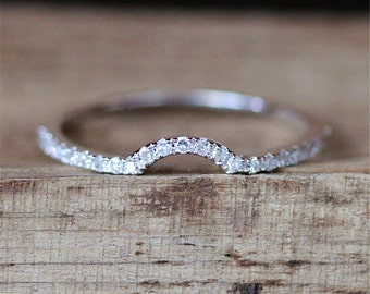 Curved Wedding Ring Danity Wedding Band Half Eternity Pave Diamonds Ring Stackable Match Ring   14K White Gold Ring Bridal Band