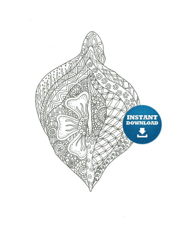 instant download vagina coloring page naughty adult coloring book zentangle vagina art printable cunt doodle xrated colouring page - X Rated Coloring Books