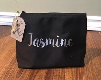 Black custom or personalized makeup bag, toiletry bag, cosmetic bag