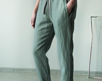 Light green women linen pants with waistband, loose fit linen trousers, summer linen pants, harem pants, women linen pants