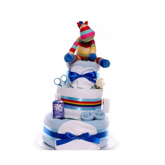 Stripy Horse Nappy Cake for a Boy, baby boy nappy cake gift, large nappy cake gift for a baby boy, baby shower gift