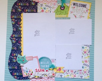 Premade Scrapbook 2-page layout, 12 x 12, Spring